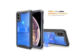Blue Honeycomb For iPhone XS MAX Case Armour Phone Cover KickStand