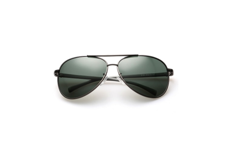 Men Polarized Uv 400 Metal Framed Aviator Sunglasses - Green