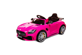 Rovo Kids Kids Ride On Car Licensed Mercedes-Benz AMG GTR Electric Toy Battery Remote Pink