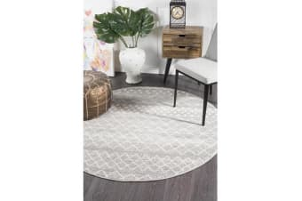 Amelia Grey & Bone Ivory Diamond Durable Round Rug