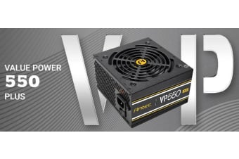 Antec VP550P PLUS 550w PSU. 80+ Certified @ 85% Efficiency, AC 120 - 240V,