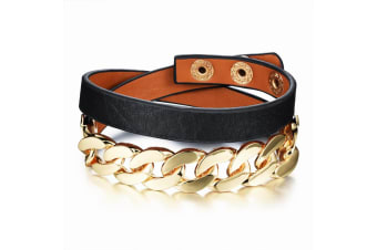 Snake Chain Leather Wrap Bracelet-Leather/Black