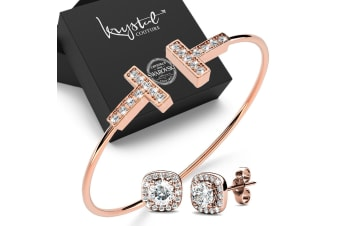 Boxed T Bar Bangle and Earrings Set Embellished with Swarovski crystals