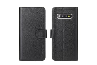For Samsung Galaxy S10+ Wallet Case iCoverLover Real Cow Leather Cover Black