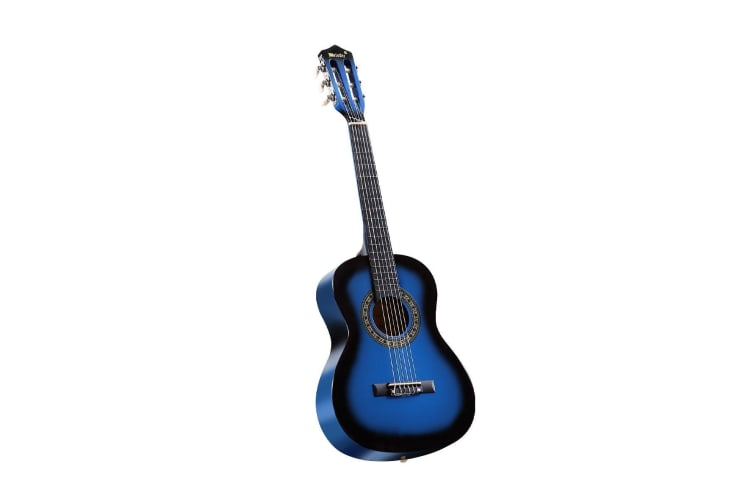 Melodic 34'' Kids Acoustic Guitar 6 Strings Tuner Cutaway Wooden Kids Gift Blue