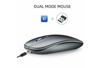 Ultra-Thin Bluetooth Wireless Rechargeable Mouse Optical Cordless Mice 1600 DPI-Grey