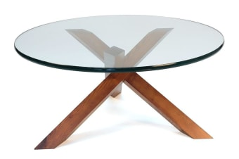 Replica Petar Zaharinov Puzzle Glass Round Coffee Table | Walnut
