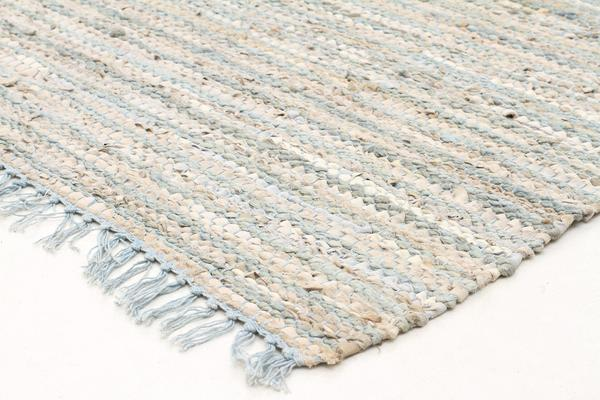 Bondi Leather and Jute Rug Sky Blue 300x80cm