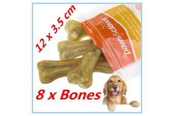 8 x NATURAL BEEF RAWHIDE BONES STICKS CHEWS LONG LASTING DOG TREAT ADULT PUPPY