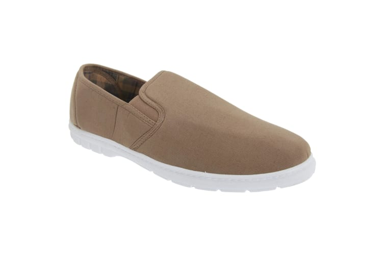 Scimitar Mens Twin Gusset Slip On Casual Textile Shoes (Taupe) (11 UK)