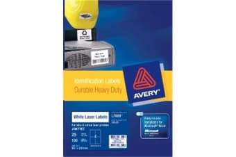 AVERY HD VINYL 99.1X139MM 25 SHEETS