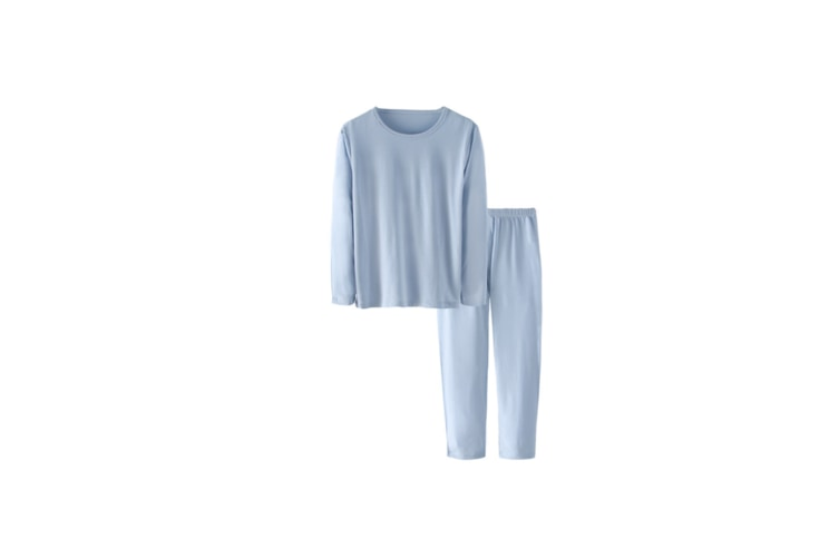 3Pcs Boys Underwear Suit Modal Long Sleeve Suit - Light Blue Blue 140Cm