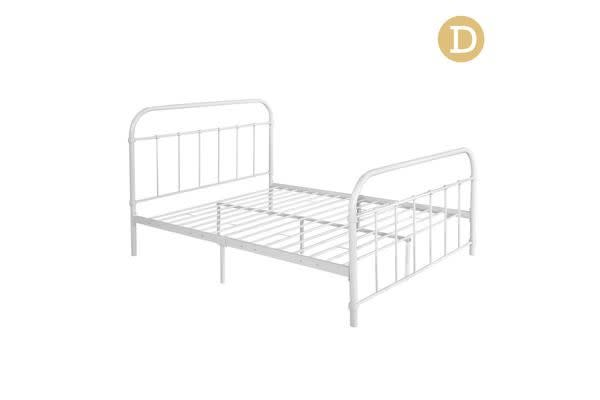 Double Size Metal Bed Frame (White)