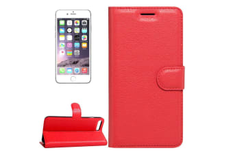 For iPhone 8 7 Wallet Case Stylish Lychee Durable Protective Leather Cover Red