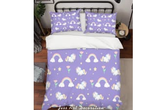 3D Purple Unicorn Rainbow Floral Star Quilt Cover Set Bedding Set Pillowcases 16-Queen