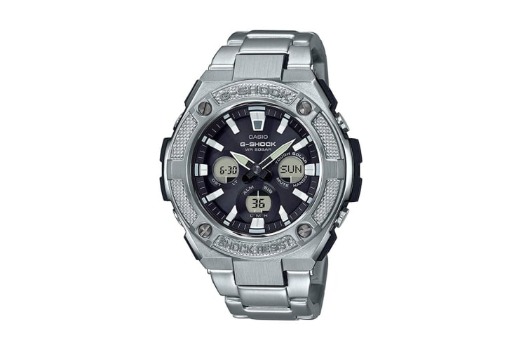 Casio G-Shock Analog Digital Watch with Layer Guard Structure, Solar Power, Hand Shift Feature & Double LED light - Silver (GSTS330D-1A)