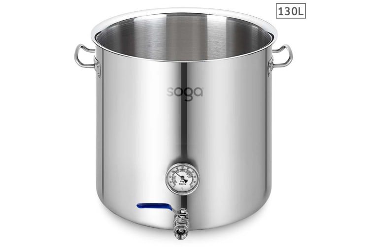 SOGA Stainless Steel 130L No Lid Brewery Pot With Beer Valve 55*55cm