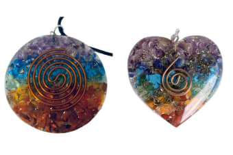 2 Pieces Pendant 7 Chakra Layered Orgone Gemstone Orgonite Reiki Spiritual