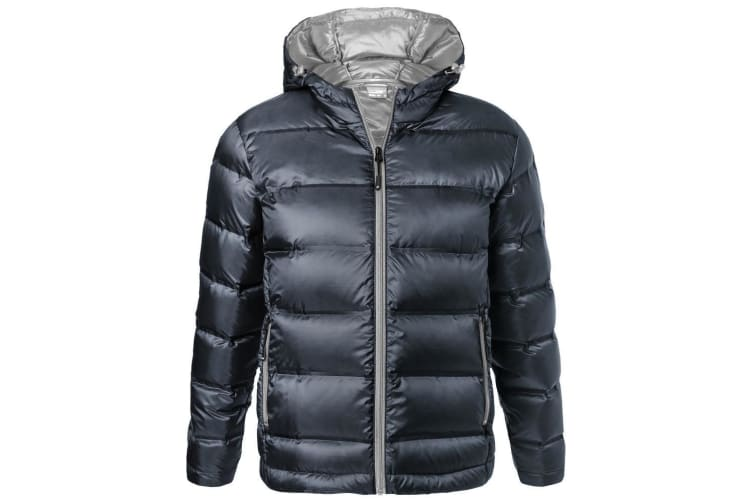 James and Nicholson Mens Hooded Down Jacket (Navy/Silver) (XL)