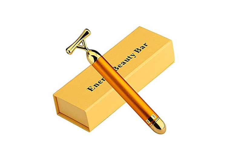 Y Shape Electric Beauty Bar 24K Golden Anti-Aging Pulse Skin Care Gold Facial Roller Massager
