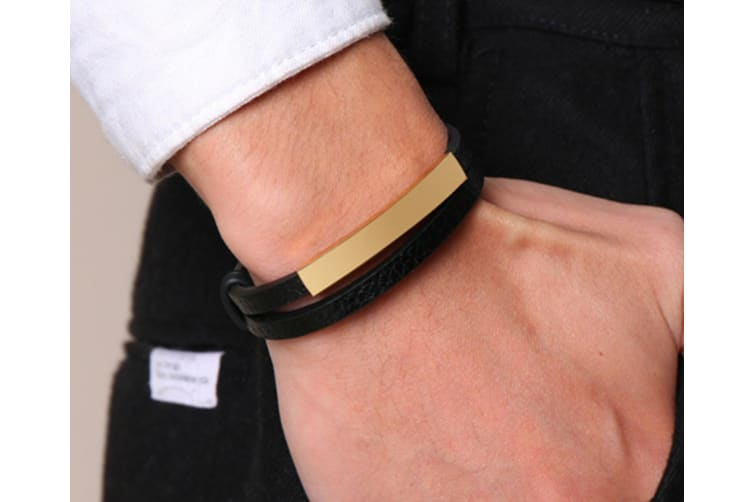 Vintage Stainless Steel Double Leather Cuffs Bracelet - Gold Gold
