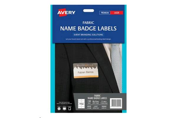 AVERY Fabric Name Badge L7427 Laser 10 UP 15 Shts 88x52mm