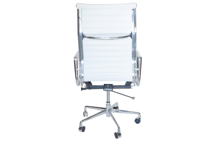 Replica Eames High Back Ribbed Leather Executive Desk / Office Chair   White