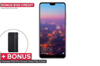 Huawei P20 Pro Dual SIM with BONUS Smart View Flip Cover (128GB, Black) + $100 Credit