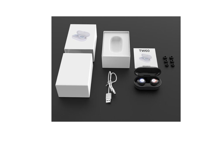 Select Mall TW60 Bluetooth Headset Wireless Earbud Touch Bluetooth Sports Headphone Wireless Bluetooth Headset with Charging Box-BLACK