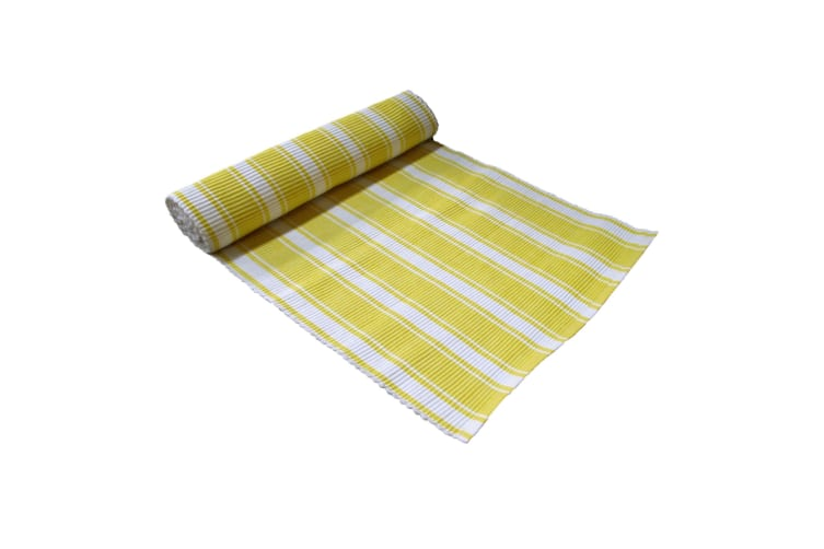 Ribbed Pattern Table Runner Panama Narrow Yellow by IDC Homewares