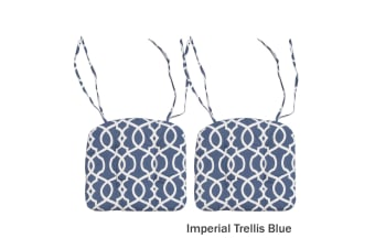 Set of 2 Pure Cotton Pattern Chair Pads Imperial Trellis Blue