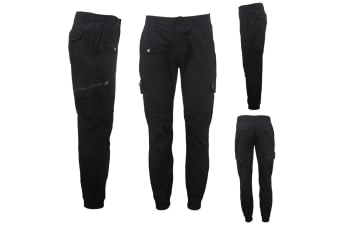 Men's Heavy Duty Cotton Drill 8 Pockets Tactical Work Cargo Pants w Elastic Hem - Black - Black