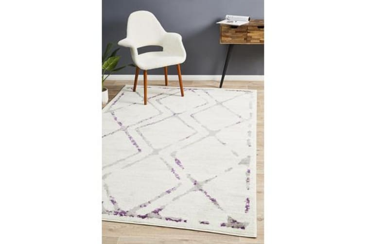 Felicia Purple & Ivory Soft Abstract Rug 290x200cm