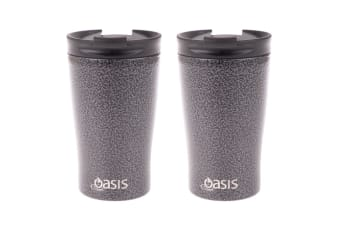 2PK Oasis 350ml Stainless Steel Double Wall Insulated Travel Cup Hammertone Grey