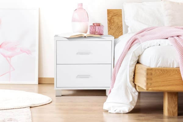 Ovela 2 Drawer Bedside Table with Aluminium Handles - Oxford Collection (White)