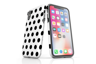 For iPhone XS Max Protective Case Unique Phone Cover  Black Polka Dots