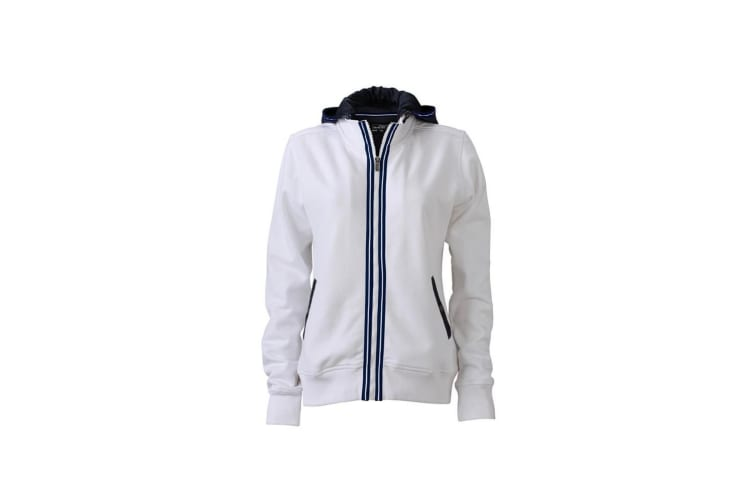 James and Nicholson Womens/Ladies Contrast Zip Hooded Jacket (White/Navy) (L)