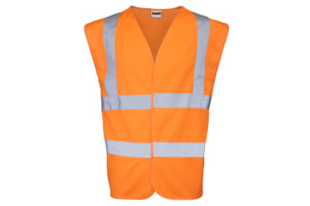 RTY High Visibility Unisex Kids High Vis Sleeveless Vest Top (Pack of 2) (Fluorescent Orange)