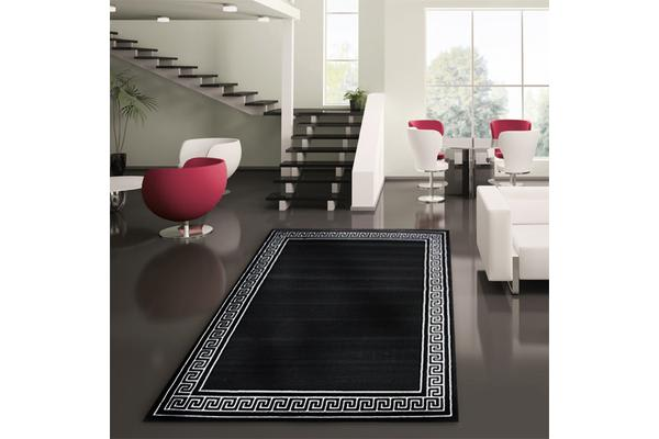 Greek Key Pattern Rug Black 230x160cm