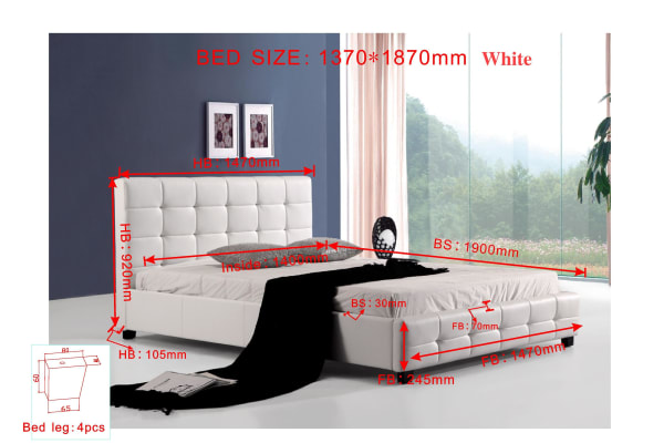 Double PU Leather Deluxe Bed Frame White
