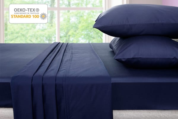 Ovela 600TC 70% Bamboo / 30% Cotton blend Bed Sheet Set (Queen, Indigo)