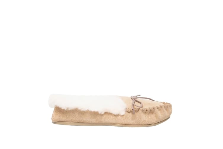 Mokkers Womens/Ladies Kirsty Moccasin Real Suede Slippers (Taupe) (7 UK)