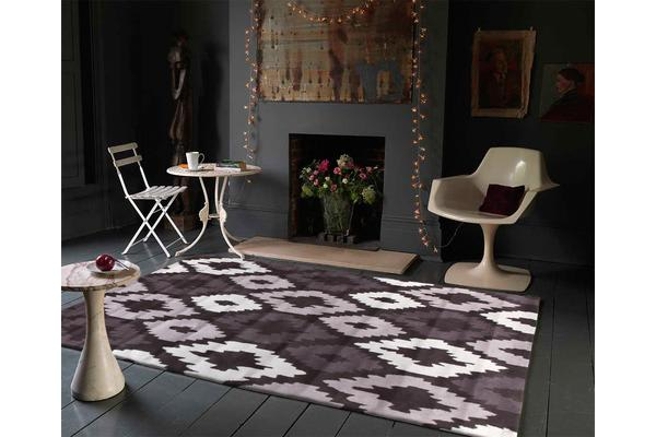 Ikat Diamonds Brown Beige Rug 165x115cm