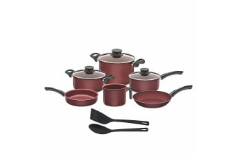 Tramontina Paris Granito Cookware Set (Pack Of 10) (Red) (One Size)