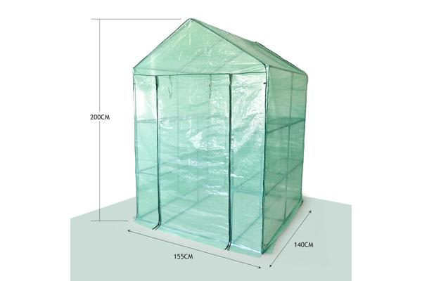 Walk In Greenhouse Garden Green House Plant Shed PE PVC Cover Arch Roof Tunnel - Green