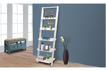 5 Tier Wooden Wall Rack Leaning Ladder Shelf Unit Bookcase Display Home Decor WHITE