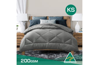 King Single Size Aus Made Summer Weight Soft Bamboo Blend Quilt Grey Cover