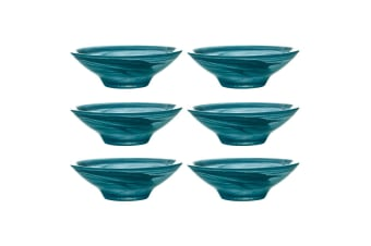 6x Maxwell Williams 13cm Marblesque Serving Glass Dessert Sauce Snack Bowl Teal