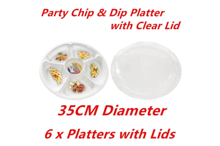 6 x PLASTIC 5 SECTION CHIP DIP SERVING PLATTERS W LIDS CATERING TRAY PARTY 35CM