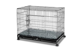 Folding Metal Pet Dog Crate Cage Home w/ Wheels - 48-inch